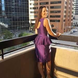 Stunning Purple Dress with mesh Chest Cut Out!